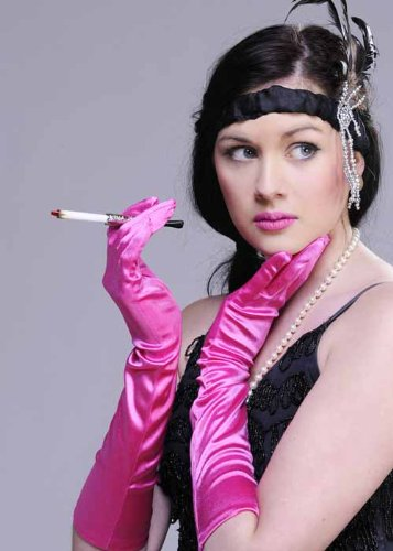 Struts Fancy Dress Mesdames 20 s Flapper Gants Satin Rose Chaud