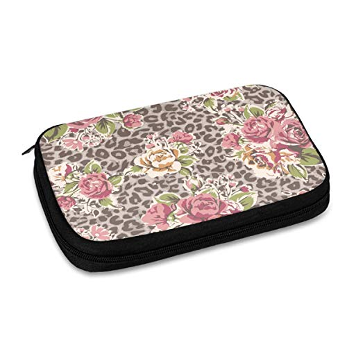 Electronics Organizer Animal Leopard Print Pink Rose Flower Trendy Electronic Accessories Cable Organizer Bag Travel Cable Storage Bag for Cables, Laptop Charger, Tablet (Up to 9.4'')