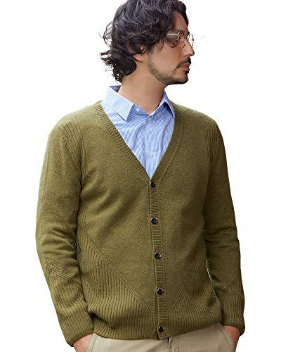 zhili Mens Flat Knit Lange Mouw V-hals Knop Down Vest Wol Jumpers