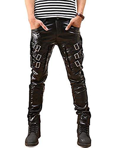Idopy Herren Hip Hop Biker Schwarz Faux Leder Hosen Hosen (Schwarz 2, W29 (Taille 72cm))