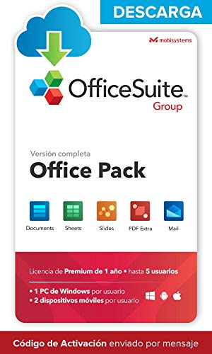 OfficeSuite Group - DESCARGA / Licencia Online - Compatible con Office Word® Excel® y PowerPoint® y PDF para PC Windows 10 8.1 8 7 - Licencia de 1 año, 5 usuarios