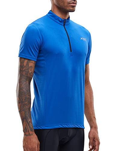 Men's Short/Long Sleeve Cycling Jersey Bike Jerseys Cycle Biking Shirt with Quick Dry Breathable Fabric (Blue/Short, XL)