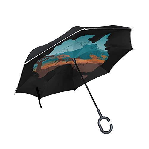 Double Layer Inverted Umbrellas Australien Karte und Tiere Taschenschirm Winddicht UV-Schutz für den Autoeinsatz Regen Outdoor Mit C-förmigem Griff