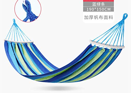 ZXL iuihuah Hängematte Outdoor Schaukel Indoor Home Single Double Adult Schlafsessel Anti-Roll 190 x 150CM Blau A