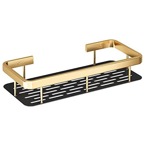Estantes de Baño, Alloy de Aluminio de Baño. Estantes Montados en La Pared Bandeja de Almacenamiento Estante Colgante Cuadrado con Drenaje Dorado Y Negro