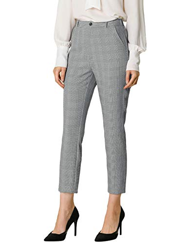 Allegra K Women's Plaid High Waist Elastic Back Office Work Ankle Pants X-Small Black