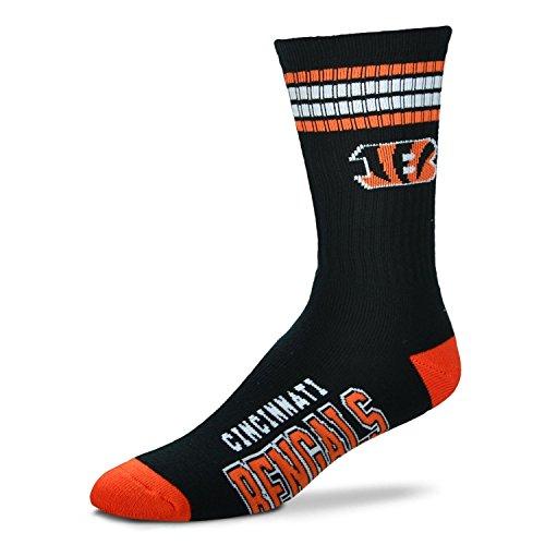 Bare Feet NFL Deuce Crew Herrensocken, 4 Streifen, Herren, Cincinnati Bengals, Medium (5-10)