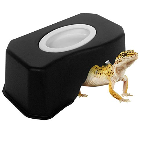 OMEM Small Reptiles Hide Caves, Climb Box Landscaping, Turtles Caves with Water Dish Suitable for Beard Dragons, Lizards, Snakes, Turtles, Spiders (Black)