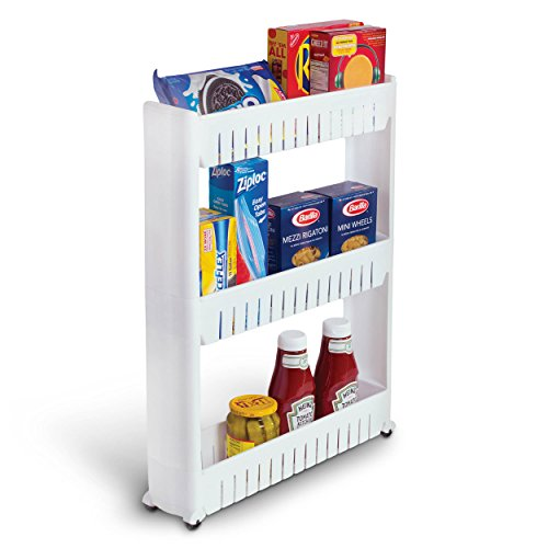 Laundry Room Organizer and Slim Storage Cart – Mobile Wheels Shelf with 3 Tiers Skinny Thin Shelves for Narrow Slim Space Between Washer and Dryer Perfect as Cleaning Supplies Organizer