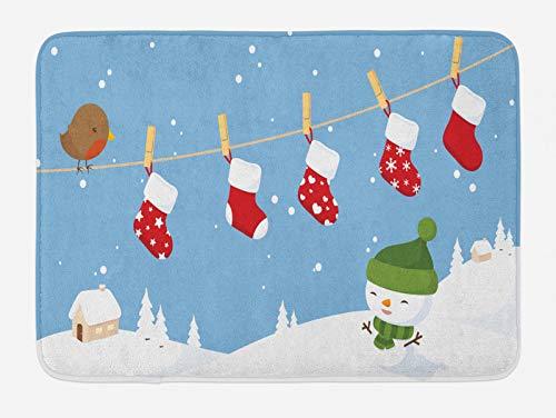 ABAKUHAUS Navidad Tapete para Baño, Calcetines Colgantes Bird, Decorativo de Felpa Estampada con Dorso Antideslizante, 45 cm x 75 cm, Blanco Azul