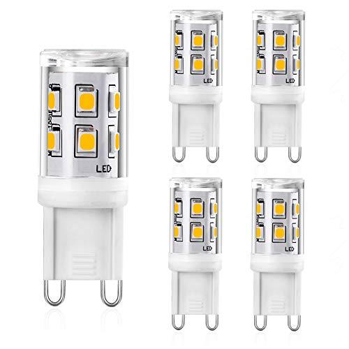 Ampoule G9 LED 2W, 20W 25W G9 Halogènes Equivalente, 300lm Blanc Chaud 3000K Ampoule Led G9 Lampe, CRI 83, 360 Degrés Angle, AC 220-240V, Not Dimmable, Lot de 5