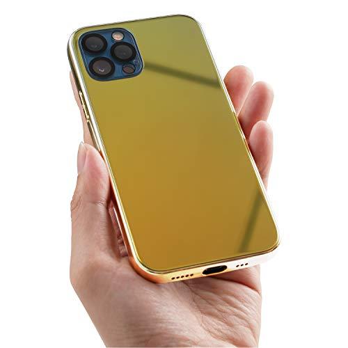 Schutzhülle für iPhone 12 Pro Max,Makeup Spiegel Effekt Hardcase Stoßfest Dünn Weiches Silikon Telefon Auto Schutzhülle Hohe Qualität Telefon Hülle Gold