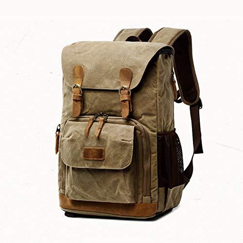 Kamera-Rucksack, DSLR-Tasche paßt Laptop, Rück Zugang, Dehnbare Seitentasche für Reisestativ für DSLR/Mirrorless/CSC und Standard-Objektive,Khaki