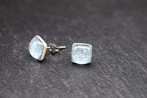 Keramik-Designer-Schmuck für Damen Ohrstecker in grau-blau Handmade Modeschmuck Ohrringe