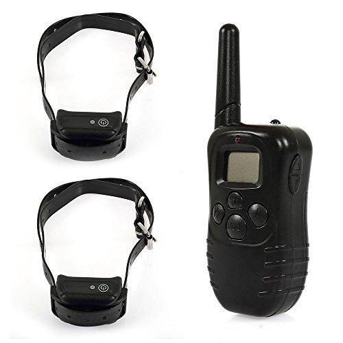 2X Collier de Dressage étanche avec Télécommande d'Ecran LCD Rechargeable Distance de Contrôle 300M pour 2 Chiens