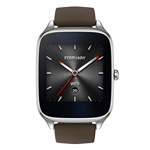 Asus Zenwatch 2 WI501Q-1RTUP0004 (4,1 cm (1,63 Zoll), Qualcomm Snapdragon, 320 x 320 pixels, Android, Amoled, 4GB, Gummiarmband) grau/braun