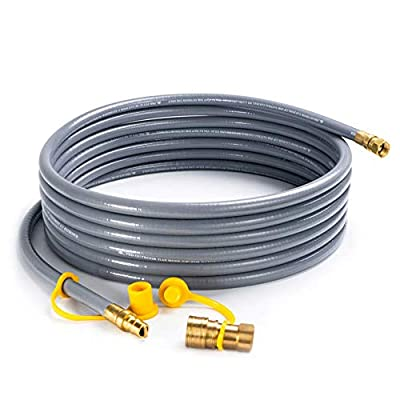 SHINESTAR 24 Feet Natural Gas Hose with 3/8inch Quick Connect/Disconnect for Most Grill, Fire Pit, Patio Heater, Pizza Oven