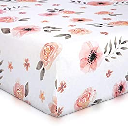Tyke Bliss Pink Floral Girl Crib Sheet 52′ x 28′ 100% Cotton Soft Water Color Baby/Toddler Crib Sheet