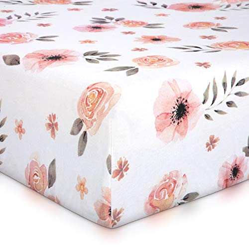 Pink Floral Girl Crib Sheet - 100% Finely Combed Cotton, Breathable, Super Soft Watercolor Rose Baby Girl Crib Sheets, 52' x 28' x 9' Fits Standard Mattress