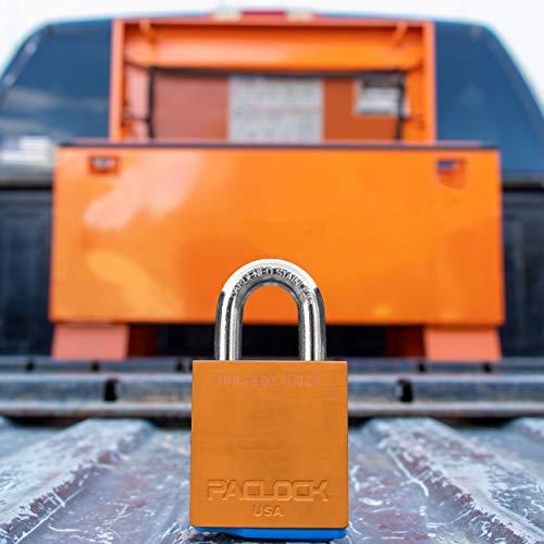 PACLOCKのジョブボックスロックシリーズ 南京錠 アメリカ法準拠 オレンジ陽極酸化アルミニウム 高セキュリティ 6ピンシリンダー、ワンロック#26541 キー2本付き ハードステンレスシャックル