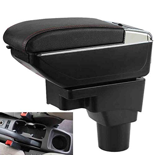 SZSS-CAR Leather Car Center Console Armrest Box for Chevrolet Aveo 2011 2012 2013 2014 2015 2016 2017 Armrests Storage Box(Black)
