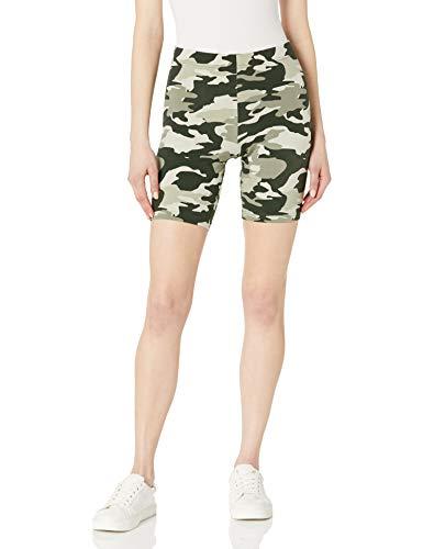 HUE Women's High Waist Blackout Cotton Bike Shorts, Olive Camo, XS