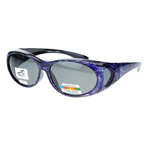 Womens Glare Blocking Polarized Lens 60mm Fit Over Oval Sunglasses Purple