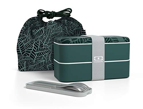 monbento - Lunch box set graphic Jungle - mit MB Original graphic Jungle Bento Box, MB Pocket grau Coton Besteck zum mitnehmen und MB Pochette graphic Jungle Tasche