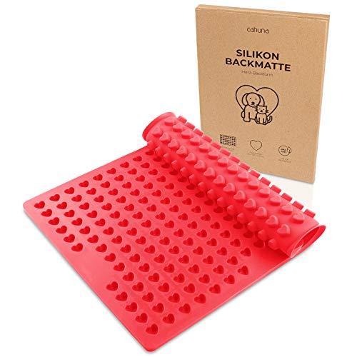 Cahuna Silikon Backmatte als Backform für Hundeleckerli mit Mini Herz - Große Wiederverwendbare Backunterlage für den Backofen BPA frei und mit Rand - Hundekekse selber backen - Inklusive Rezept