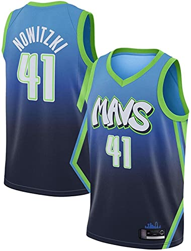 llp Mavericks clásicos # 41 Nowitzki Baloncesto Jersey, Unisex Baloncesto Uniforme, Respirable Sweat-Absorbent Sportswear Jersey (Color : A, Size : Medium)
