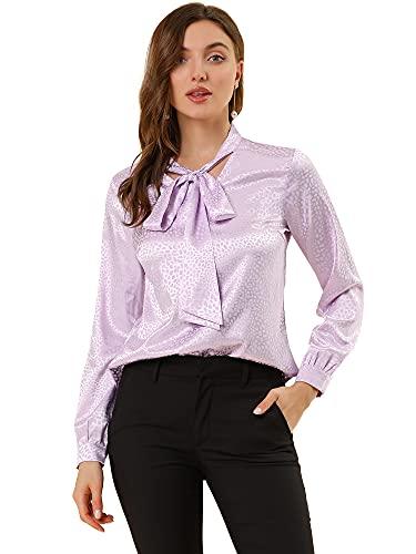 Allegra K Women's Tie Bow Neck Long Sleeve Printed Satin Office Blouse Tops Small Purple
