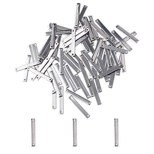 PH PandaHall 100pcs Stainless Steel Straight Bar Link Connector Rectangle Small Charm Links Metal Jewelry Connectors for Pet Chain Bracelet Necklace Jewelry Making 25x3.5x1mm, Hole 1mm