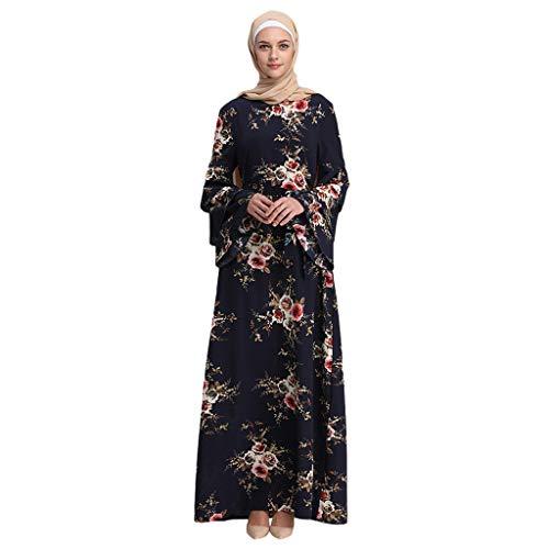 TWIFER Damen Muslimische Maixkleid Sommer Gedruckt Trompete Ärmel Stickerei Elegantes Swing Kleid mit Schlaghülse