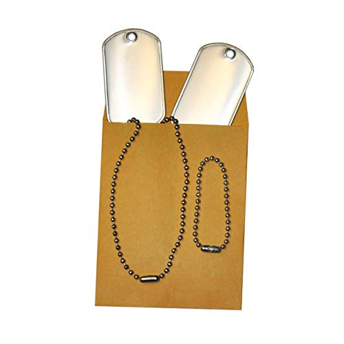 Ball Chain Blank Military Dog Tags Set | Stainless Steel Matte Finish | 2 x 1.125 inches Tags with Ball Chains | Rust and Corrosion Resistant