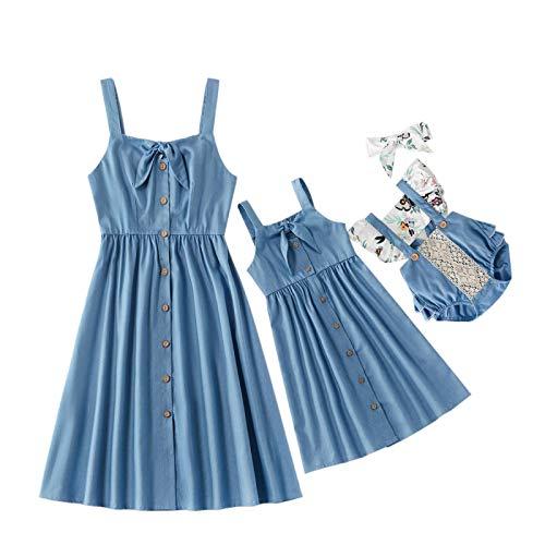 Vestido De Madre E Hija, Vestido Sin Mangas Nudo De Lazo Azul Sólido Verano Pop Padre-Niño A Juego Vestido Tanque para Las Mujeres Niña Suave Algodón Bebé Romper, Mamá M