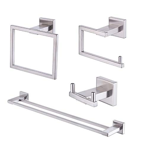 LANC Bathroom Hardware 4-Piece Set Drill-Free/Adhesive Robe Hook Toilet Paper Holder Towel Ring Double Towel Bar Stainless Steel Wall Mount, Brushed Finish, A8209BN