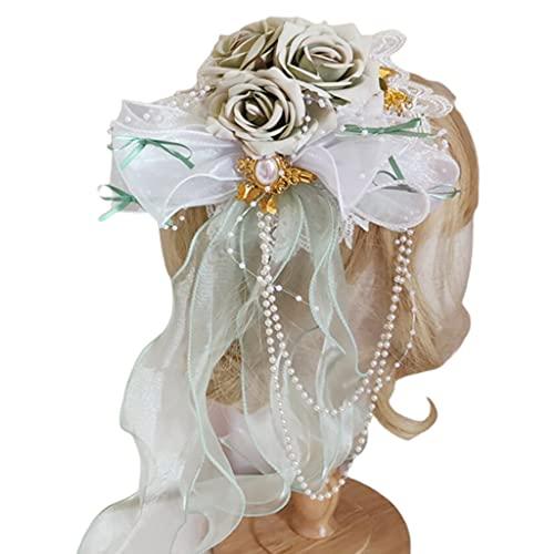 Wenyounge Lolita Girls Encaje Bonnet Top Hat Flor Cinta Borlas Cosplay Kawaii Flat Cap