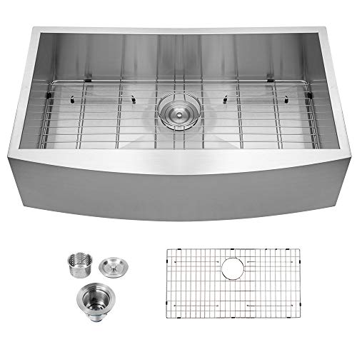 Review Of Farmhouse Kitchen Sink - Logmey 36 Inch Single Bowl Apron Front Sink18 Gauge Stainless Ste...