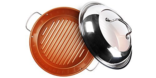 NuWave Stainless Steel, 11', Silver Ceramic BBQ Grill Pan