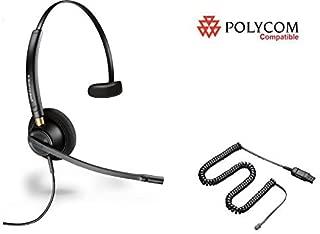 Polycom Compatible Plantronics Noise Canceling HW510 EncorePro 510 Headset Bundle for SoundPoint: IP 300 335 450 501 550 560 600 650 670 | VVX 300 310 400 410 500 600 1500 | CX 300 600 700