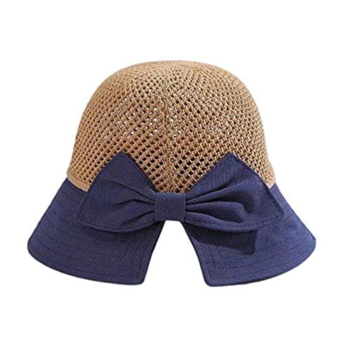 KFGF Cappello da sole da donna, alla moda, con grande tesa e fiocco, adatto come protezione solare, beige marino, 54/58 cm