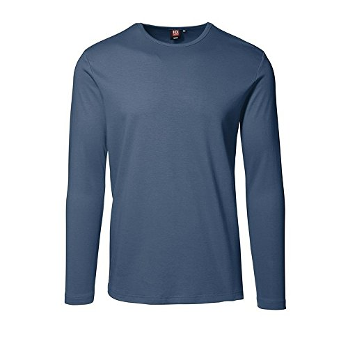 ID Herren Interlock T-Shirt langarm (L, indigo)