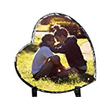 Moonlove Personalized Photo Frames Heart Shape Rock Slate Picture Plaque Desktop Picture Frames with Holder Customized Birthday Baby Birth Valentine's Day for Couples Grandpa Grilfriend