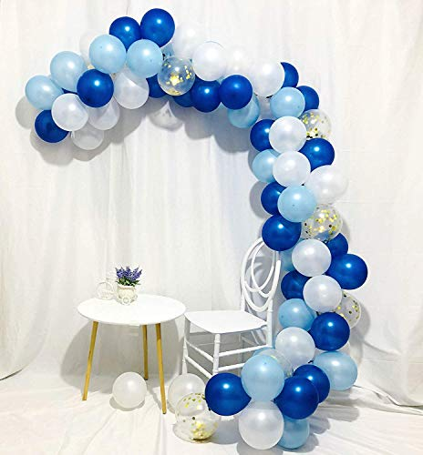 Erosion Blaues Gold und weiße Ballons 80 Stück 12 Zoll Royal Blue Balloons Hellblaue Ballons Gold Konfetti Ballons Weiße Ballons Blau und Gold Dekorationen, Royal Baby Shower Dekorationen