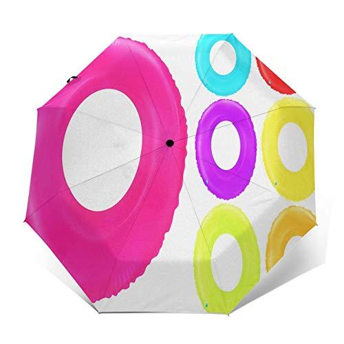 Regenschirm Taschenschirm Kompakter Falt-Regenschirm, Winddichter, Auf-Zu-Automatik, Verstärktes Dach, Ergonomischer Griff, Schirm-Tasche, Schwimmringe Spielzeug