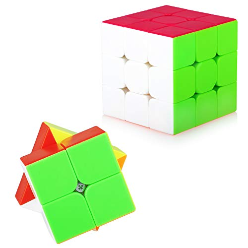 TOYESS Speed Cube Set Stickerless, Cubo de Velocidad 3x3 Stickerless+Cubo Mágico 2x2, Rompecabezas Puzzle Juguetes para Adulto & Niños(2 Pack)