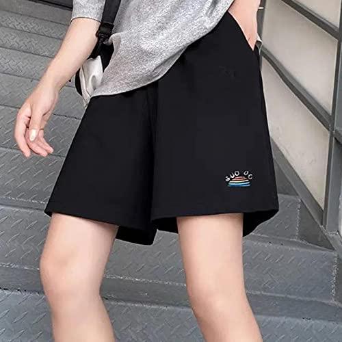ShSnnwrl Pantaloncini da Donna Pantaloncini Donna Frauen Summer 3XL Solide Stickerei Breite Bein Knie-Länge Harajuku Casual Einfache Trendy alle