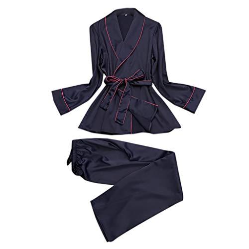 Negligee Damen Nachtwäsche Nachtkleid Nachthemd, QHJ Frauen Silk Like Pyjamas Revers Freizeit Silk Haushalts Kleidung Sexy Nachthemd (Navy, M)