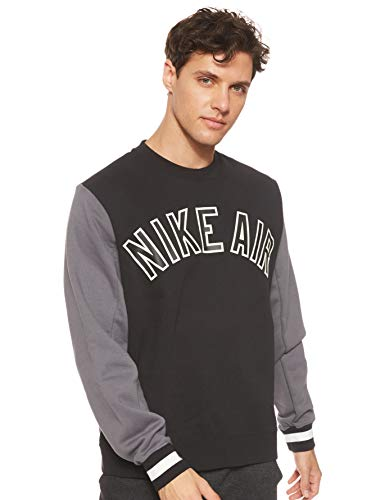Nike Herren Air Fleece-Rundhalsshirt, Black/Dark Grey/Black, M