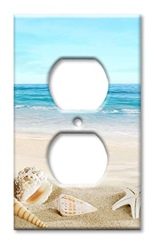 Art Plates Over Sized Outlet Cover/Oversize Outlet Switch Plate - Seashells on The Beach